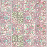 Louise Body Patchwork Dusty Pink Pink / Blue / White Wallpaper