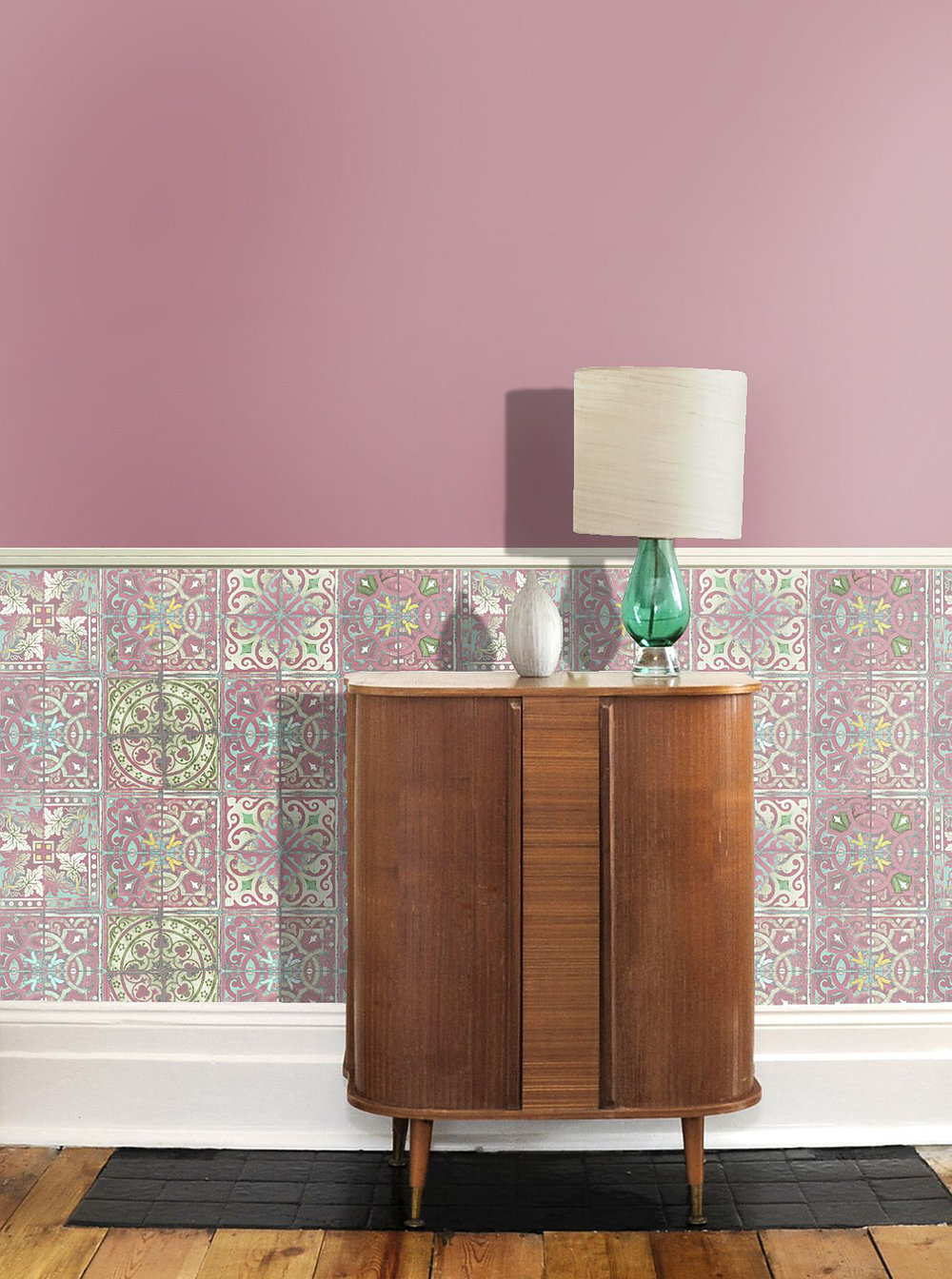 Patchwork Dusty Pink Wallpaper - Pink / Blue / White - by Louise Body