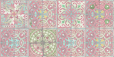 Louise Body Patchwork Dusty Pink Pink / Blue / White Wallpaper main image