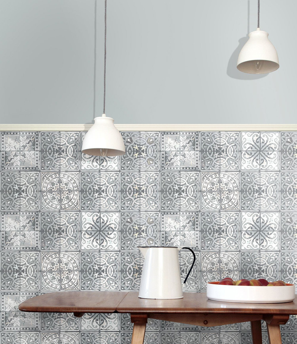 Louise Body Patchwork Grey Grey / White Wallpaper - Product code: Patchwork Grey