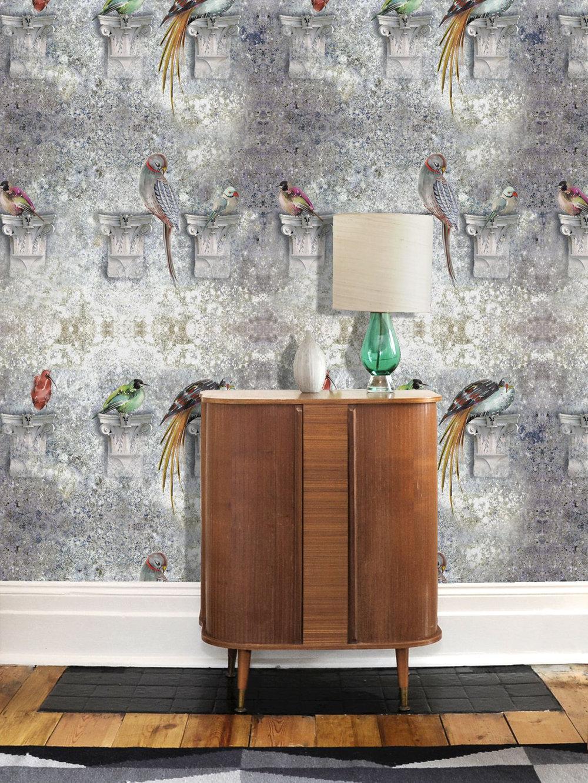 Perched Flint Wallpaper - Multi / Flint - by Louise Body