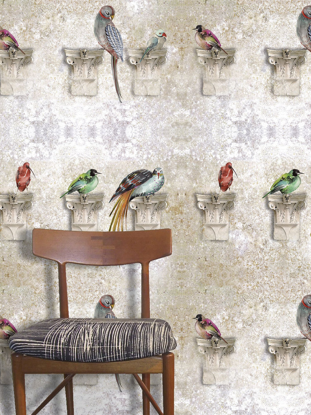 Perched Sand Wallpaper - Multi - by Louise Body