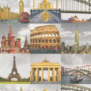 Albany Travel Montage Multi Wallpaper