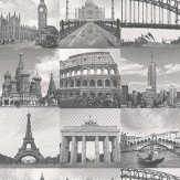 Albany Travel Montage Black/White Black / White Wallpaper