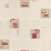 Albany Retro Mugs Crimson Cream / Taupe / Crimson Wallpaper - Product code: 13031