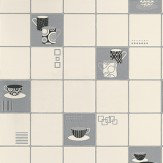 Albany Retro Mugs Silver/Black Cream / Silver / Black Wallpaper - Product code: 13032