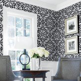 Thibaut Allison Black Black / Silver Wallpaper