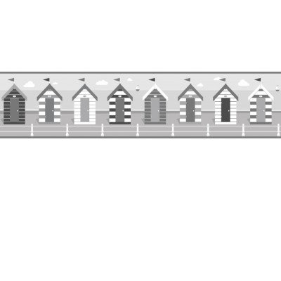 Image of Albany Borders Beach Huts Border Black and White, B50022