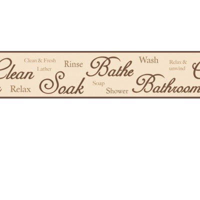 Image of Albany Borders Bathroom Script Border Brown, B50034