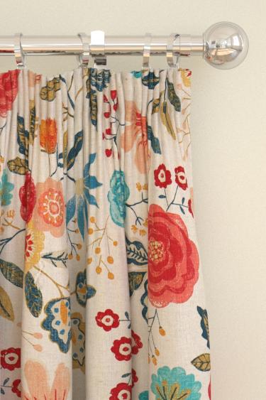 Harlequin Caspia  Coral/ Indigo Curtains