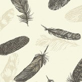 Arthouse Plume  Black/Cream Wallpaper