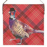 Arthouse Red Tartan Pheasant Printed Canvas