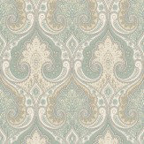 Baker Lifestyle Latika  Aqua/Gilver Wallpaper