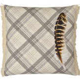 Arthouse Feather Cream Embroidered & Fringe Detail Cushion