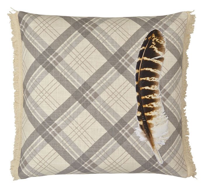Feather Cream Embroidered & Fringe Detail Cushion - by Arthouse