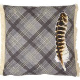 Arthouse Feather Charcoal Embroidered Fringe Detail Cushion