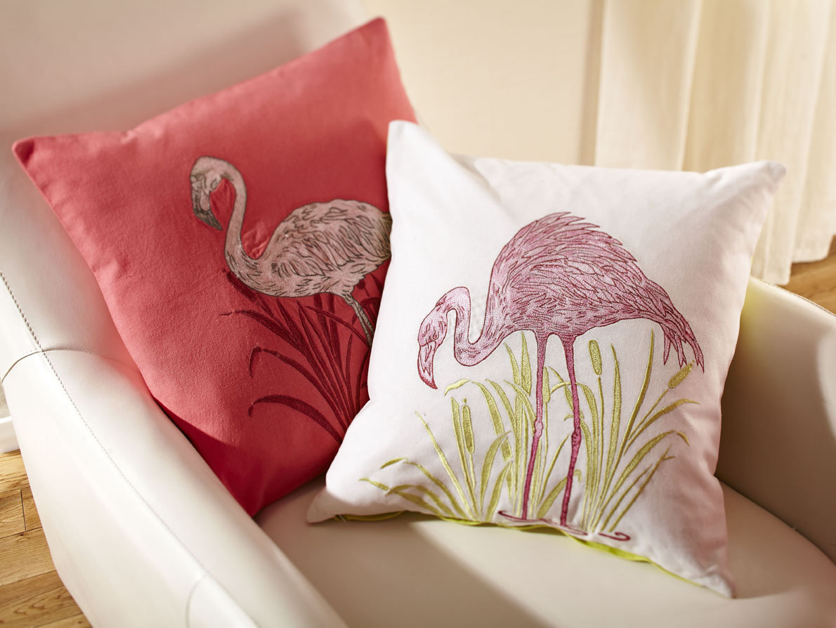 Lagoon Pink Embroidered Cushion - by Arthouse