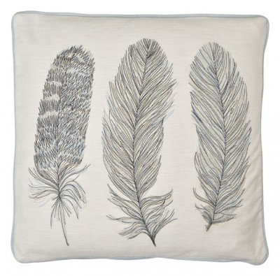 Image of Arthouse Cushions Blue Feather Embroidered Cushion, 008251