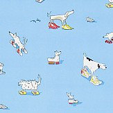 Sanderson Dogs in Clogs Blue Wallpaper