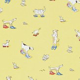 Sanderson Dogs in Clogs  Yellow Wallpaper
