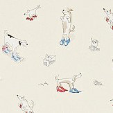 Sanderson Dogs in Clogs Rainbow Brights Wallpaper