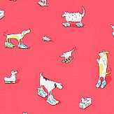 Sanderson Dogs in Clogs  Red Wallpaper