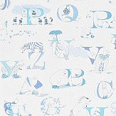 Sanderson Alphabet Zoo  Blue Wallpaper