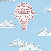 Sanderson Balloons  Sky Blue and Red Wallpaper