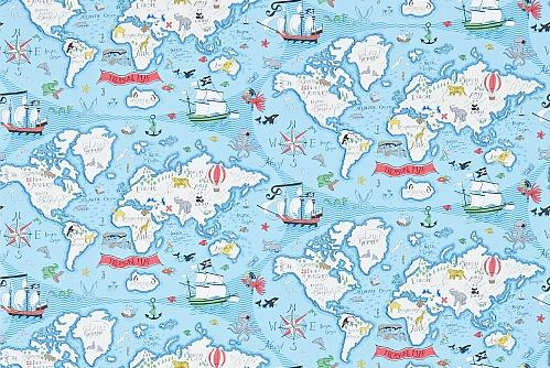 Sanderson Treasure Map  Sea Blue Wallpaper - Product code: 214038