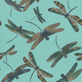 Matthew Williamson Dragonfly Dance Jade/Denim Jade / Denim Wallpaper