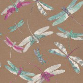 Matthew Williamson Dragonfly Dance Plum/Duck Egg Plum / Duck Egg / Metallic Gold Wallpaper - Product code: W6650-04