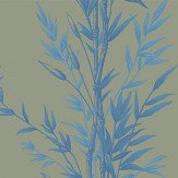 Cole & Son Bamboo  Blue on Khaki Wallpaper
