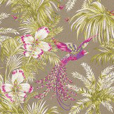 Matthew Williamson Bird of Paradise Kiwi/Violet Green / Violet / Metallic Gilver Wallpaper
