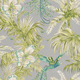 Matthew Williamson Bird of Paradise Jade/Kiwi Jade / Green / Metallic Silver Wallpaper