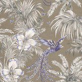 Matthew Williamson Bird of Paradise Blue/Grey Blue / Grey / Metallic Gilver Wallpaper