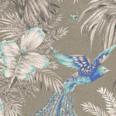 Matthew Williamson Bird of Paradise Turquoise/Grey Turquoise / Metallic Gilver Wallpaper - Product code: W6655-06