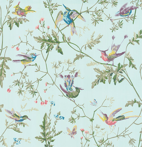 Cole & Son Hummingbirds  Blue Multi-Colour Wallpaper main image