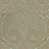 Nina Campbell Khitan Teal and Gold Metallic Teal / Gold Wallpaper