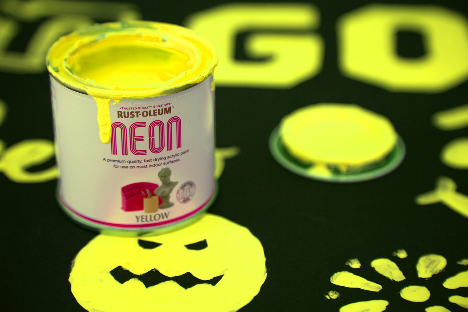 Neon paint yellow 125ml by designer paint Bright yellow wall paint