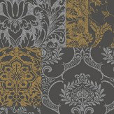 Vymura Brocade Gold/Grey Wallpaper