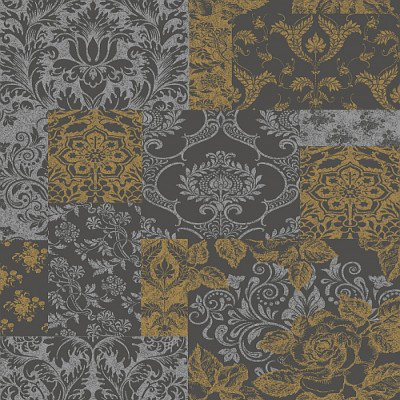 Image of Vymura Wallpapers Brocade Gold/Grey, M0892