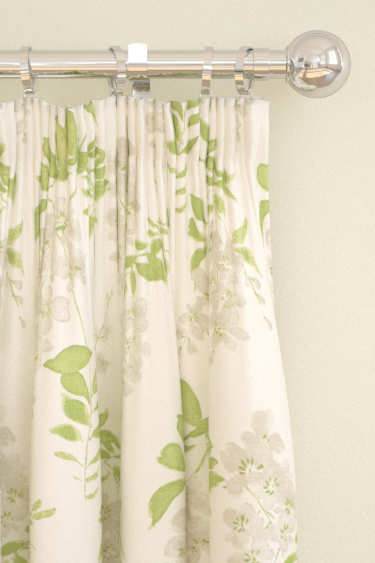 Sanderson Wisteria Blossom  Silver/Apple Curtains - Product code: 223581