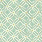 Sanderson Fretwork Aqua / Lime Fabric - Product code: 223593