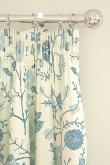 Sanderson Batik Garden  Mineral Blue Curtains - Product code: 223575