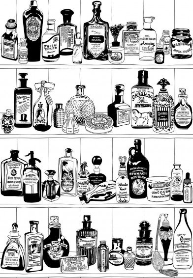 Image of Dupenny Wallpapers Potions Black & White, POTIONS BW