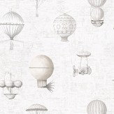 Galerie Flying Machines White White / Grey Wallpaper