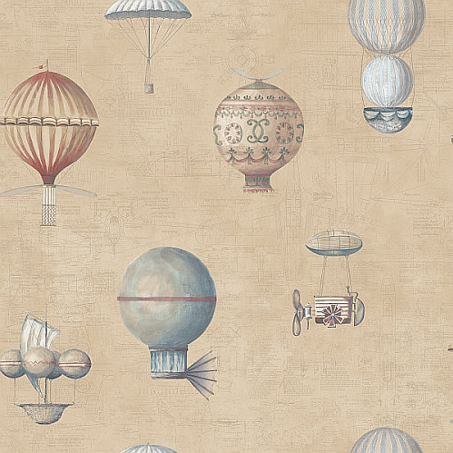 Galerie Flying Machines Brown Soft Brown Wallpaper main image