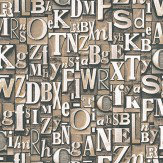 Galerie Typography Brown Silver White / Beige Wallpaper