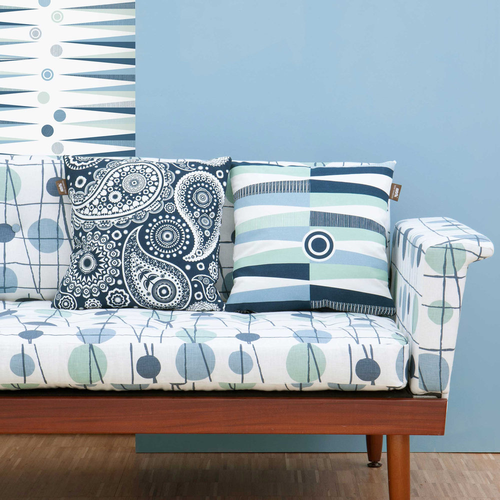 Paisley Crescent Cushion - Indigo  - by Mini Moderns