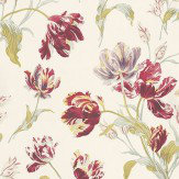 Laura Ashley Gosford Meadow  Cranberry Wallpaper